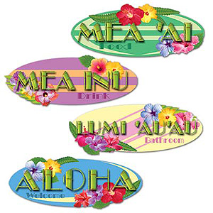 HAWAIIAN SIGN CUTOUTS PACK OF 4