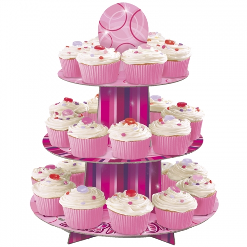 GLITZ PINK CUPCAKE STAND BIRTHDAY GIRL - CUSTOMISABLE