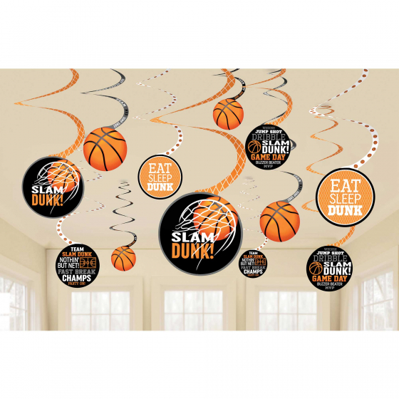 BASKETBALL HANGING WHIRLS - PACK OF 12