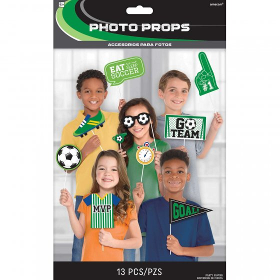 SELFIE PHOTO BOOTH PROPS - SOCCER GOAL GETTER PACK OF 13
