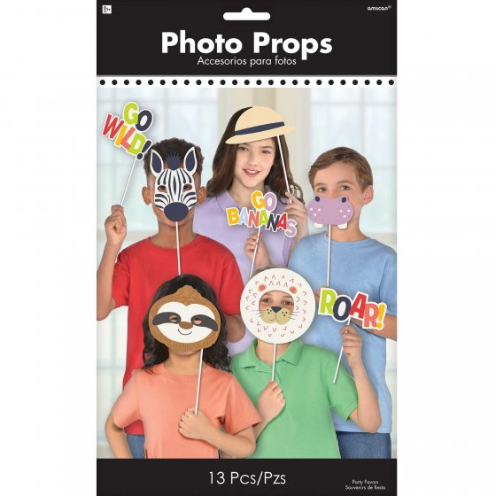 SELFIE PHOTO BOOTH PROPS - JUNGLE THEME PACK OF 13