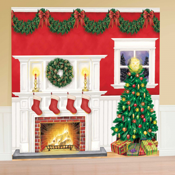 SCENE SETTER - CHRISTMAS TREE & FIREPLACE GIANT WALL KIT