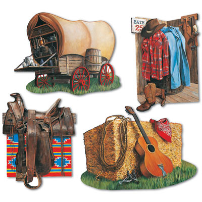 COWBOY SCENES CUT OUTS - PACK OF 4