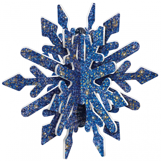 SNOWFLAKE MDF 3D HANGING DECORATION - BLUE & GOLD GLITTERED
