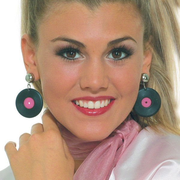 1950'S STYLE RECORD CLIP ON EARRINGS