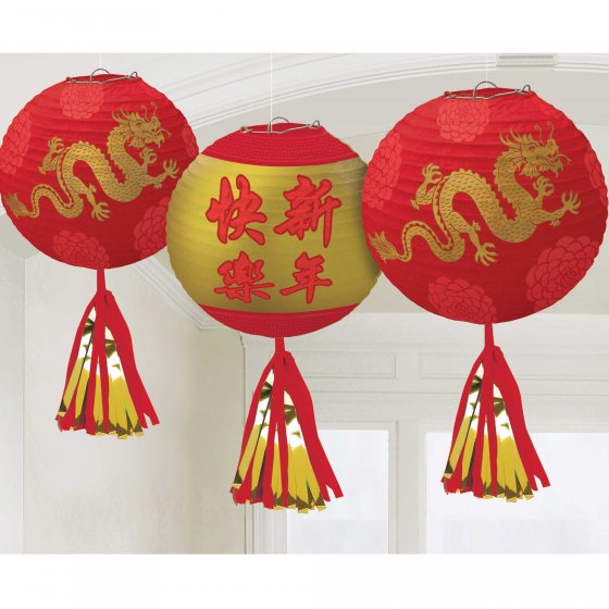CHINESE PAPER LANTERN WITH TASSELS DELUXE SET OF 3