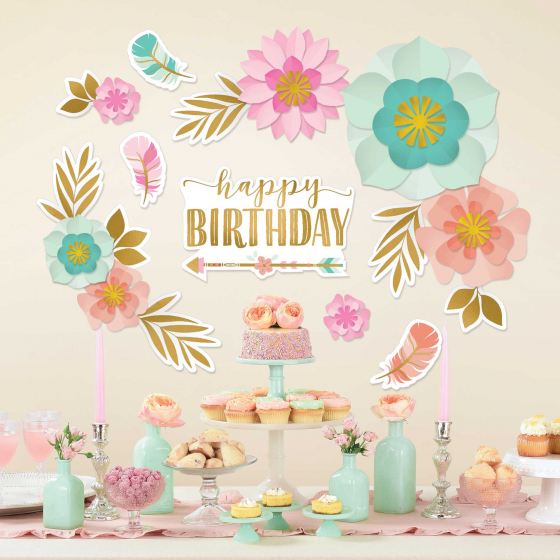 BOHO CHIC 'WILD CHILD' BIRTHDAY GIRL WALL BACKDROP DECO KIT
