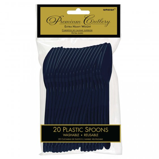 DISPOSABLE CUTLERY - NAVY BLUE SPOONS PK 20