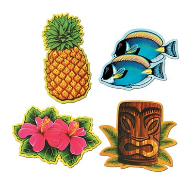LUAU CUT OUTS MEDIUM - PACK OF 4