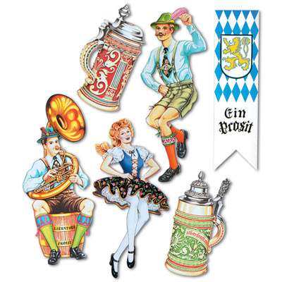 GERMAN OKTOBERFEST CUTOUTS - PACK OF 6