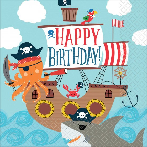 AHOY PIRATE 'HAPPY BIRTHDAY' LUNCH NAPKINS - BULK PACK OF 36