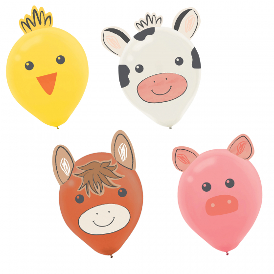 BALLOONS LATEX - BARNYARD ANIMALS DECO KIT PACK OF 6
