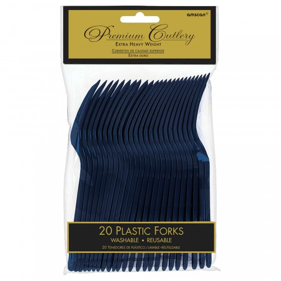 DISPOSABLE CUTLERY - NAVY BLUE FORKS PK 20