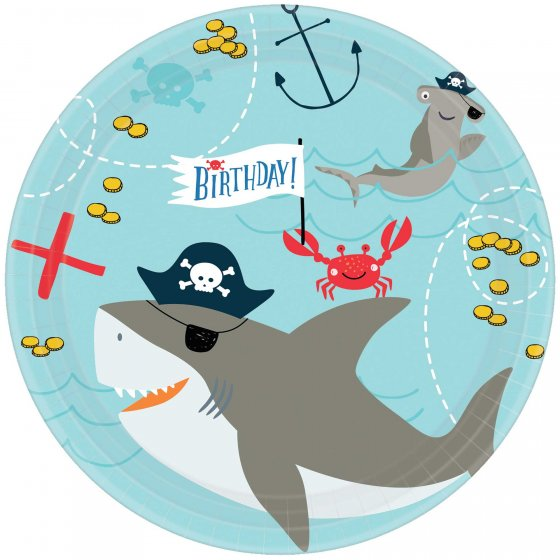 AHOY PIRATE PARTY LUNCH PLATES - BULK PACK OF 18