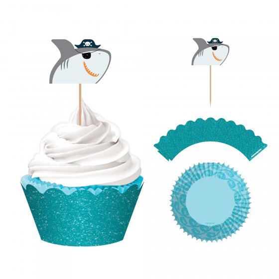 AHOY PIRATE BIRTHDAY SHARK GLITTER CUPCAKE KIT OF 24