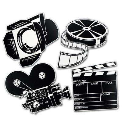 MOVIE SET CUT OUTS IN BLACK & WHITE - PACK 4