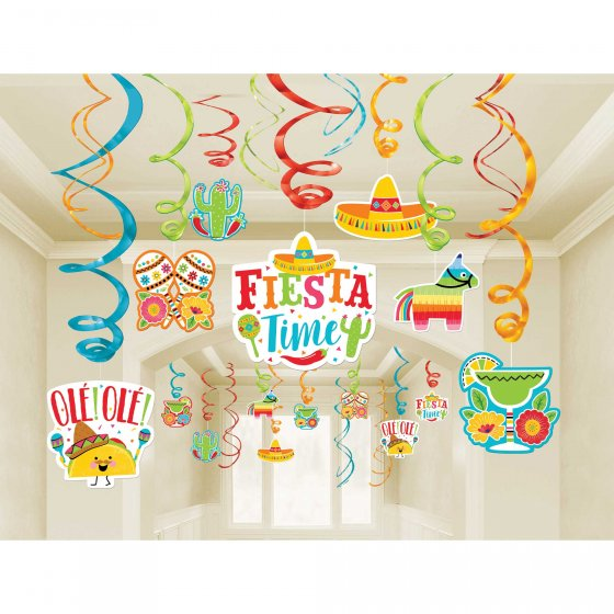 MEXICAN FIESTA PARTY WHIRLS VALUE PACK OF 30