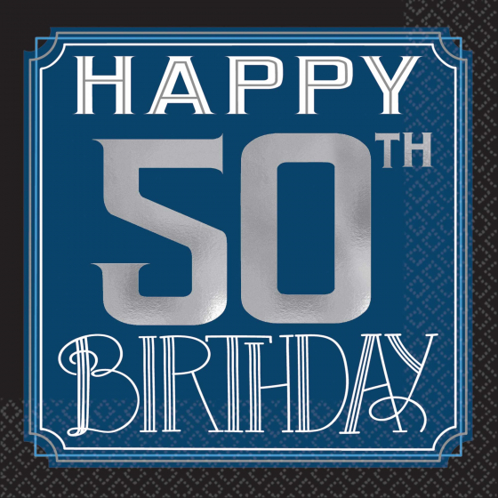 50th Birthday Man Cocktail Napkins Pack Of 16 Party Supplies Online Australia S Biggest Online Party Shop