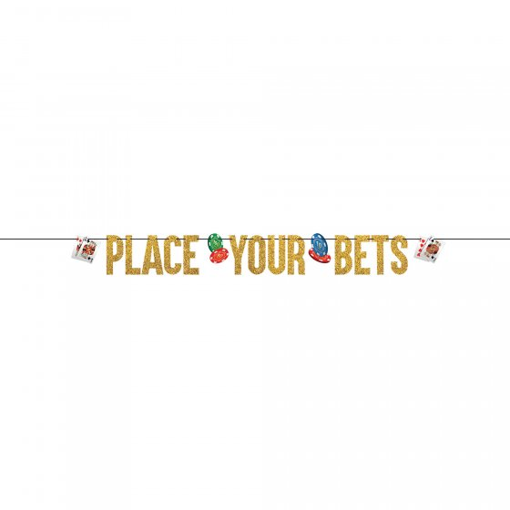 CASINO 'ROLL THE DICE' GLITTER 'PLACE YOUR BETS' LETTER RIBBON