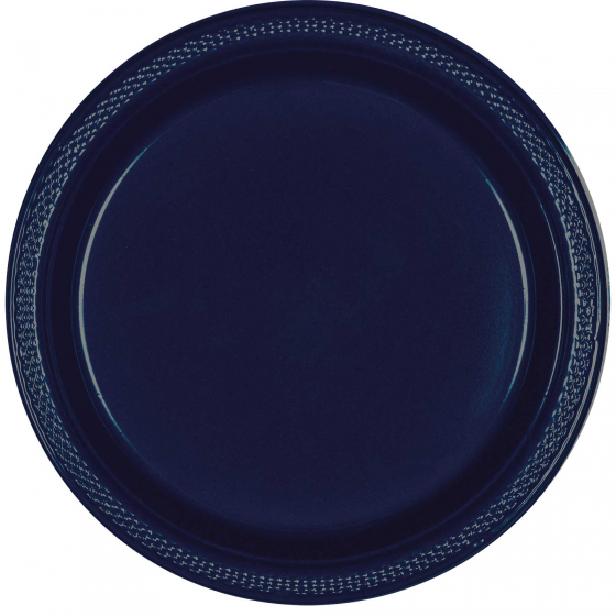 DISPOSABLE ENTREE / SNACK PLATE - NAVY BLUE PACK OF 20