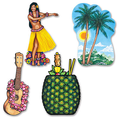 LUAU CUT OUTS LARGE - PACK OF 4