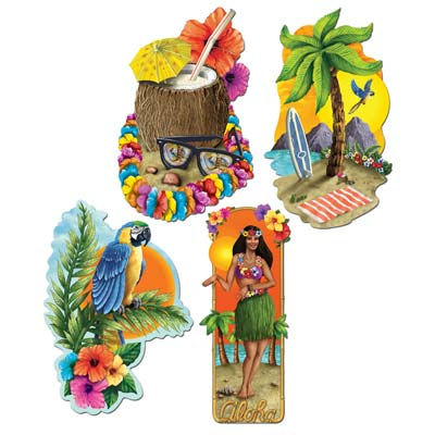 HAWAIIAN LUAU PARTY CUT OUTS PACK OF 4