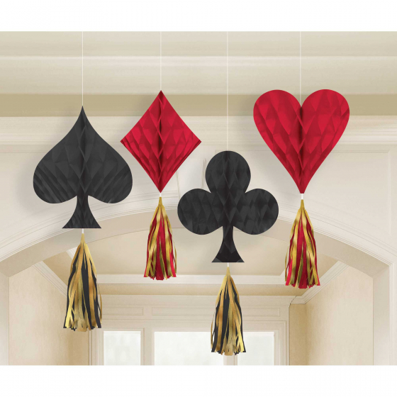 CASINO 'ROLL THE DICE' MINI HANGING HONEYCOMB SUIT DECORATIONS