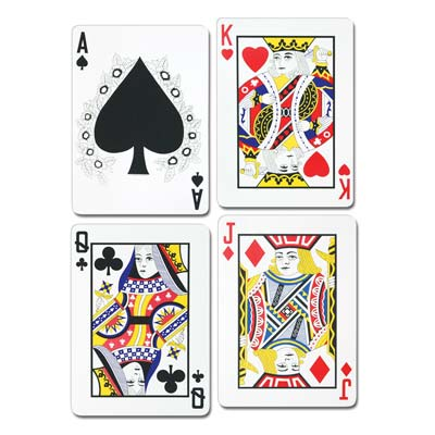 "GIANT JUMBO 25"" SIZED PLAYING CARDS - PACK OF 4"