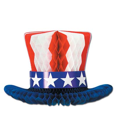 AMERICAN PATRIOTIC HONEYCOMB TOP HAT TABLE CENTREPIECE