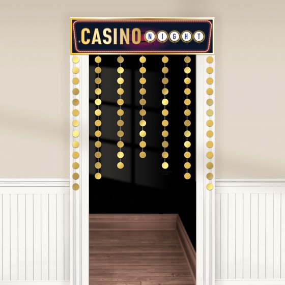 CASINO 'ROLL THE DICE' DECORATIVE DOORWAY SIGN & CURTAIN