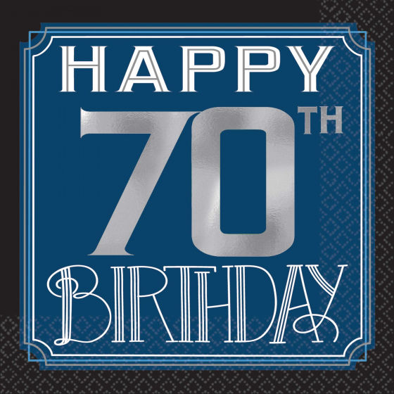 70th Birthday Man Cocktail Napkins Pack Of 16 Party Supplies Online Australia S Biggest Online Party Shop