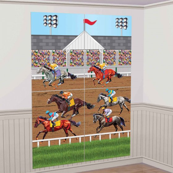 DERBY DAY HORSE RACING SCENE SETTER WALL DECORATING KIT