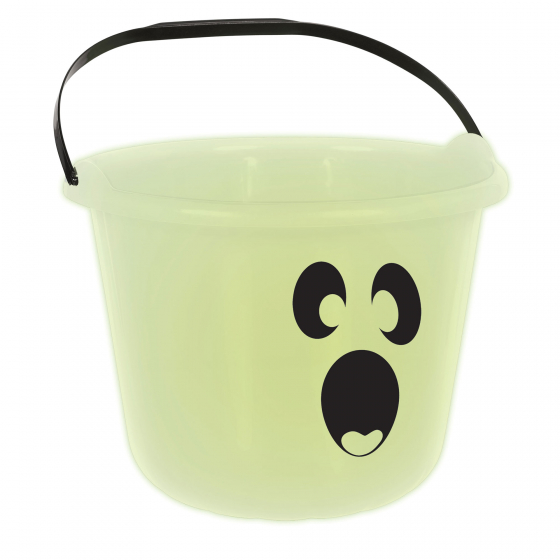 HALLOWEEN GLOW IN THE DARK GHOST FACE PAIL