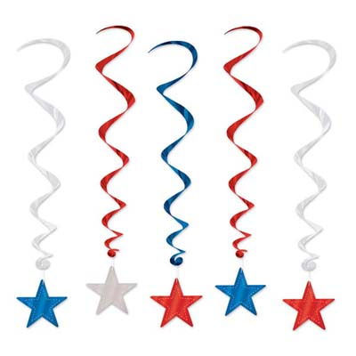PATRIOTIC STAR WHIRLS PACK OF 5