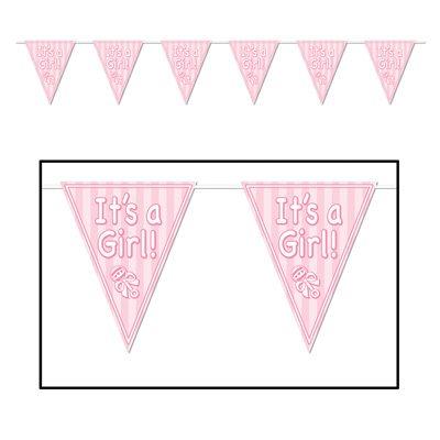 IT'S A GIRL PENNANT BANNER