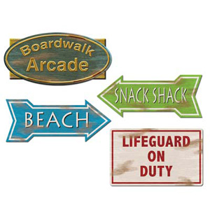 BEACH SIGN CUTOUTS - PACK OF 4