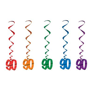 90TH BIRTHDAY PARTY SWIRLS - PACK OF 5
