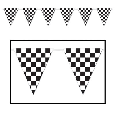 CHECKERED FLAG PENNANT BANNER - HUGE PENNANTS