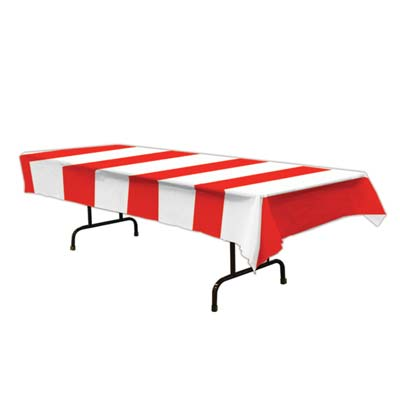 TABLECOVER - RED & WHITE STRIPE