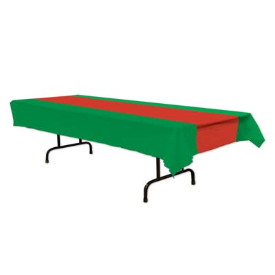 CHRISTMAS RED & GREEN TABLE COVER
