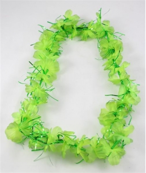 HAWAIIAN FLOWER LEI - LIME GREEN & TINSEL