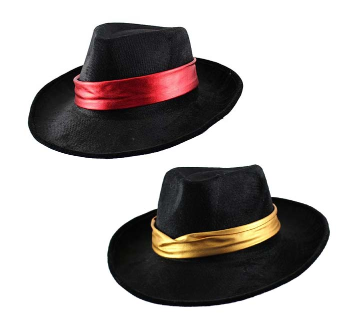 GANGSTER HAT - BLACK WITH METALLIC COLOURED BAND