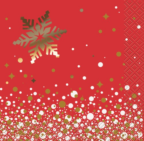 GOLD SPARKLE CHRISTMAS FOIL STAMPED COCKTAIL NAPKINS - PK OF 16