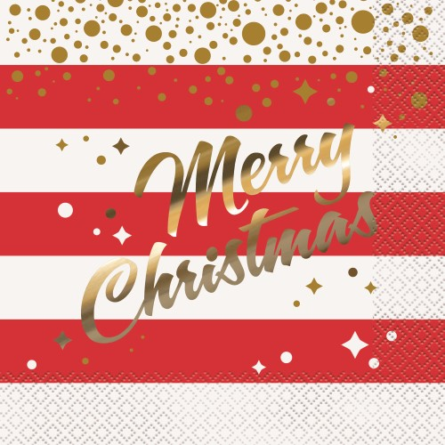 GOLD SPARKLE 'CHRISTMAS' FOIL STAMPED LUNCH NAPKINS - PACK OF 16