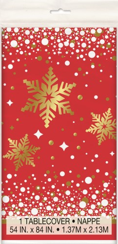 GOLD SPARKLE CHRISTMAS FOIL STAMPED TABLE COVER