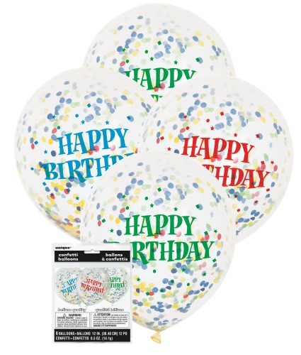 BALLOONS LATEX - 'HAPPY BIRTHDAY' CONFETTI BALLOONS - PACK OF 6
