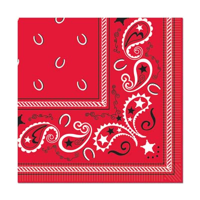BANDANA PRINT LUNCH NAPKINS - PACK OF 16