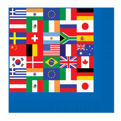 INTERNATIONAL FLAG LUNCH NAPKINS - PACK OF 16