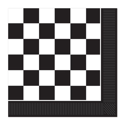 CHECKERED FLAG NAPKINS WITH BLACK BORDER - PACK OF 16