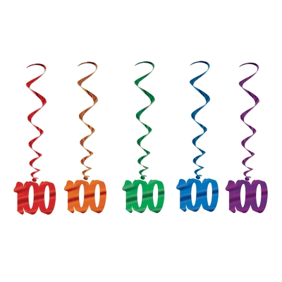 100TH BIRTHDAY PARTY SWIRLS - PACK OF 5
